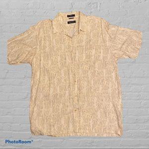 Nautica short sleeve cream button down shirt Large